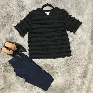 H&M Boxy Fringed Crop Top